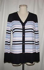 Misook Navy/Lavender/Pink/White Colorblock Stripe Ribbed Knit Button Cardigan XS