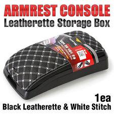 Arm Rest Center Console Storage Box Black Leatherette White Stitch for BMW