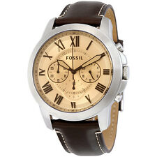 Fossil Grant Beige Dial Chronograph Leather Mens Watch FS5152