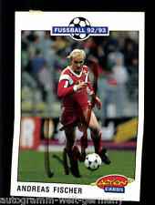 Andreas fischer bayer leverkusen 92-93 Panini card Sign