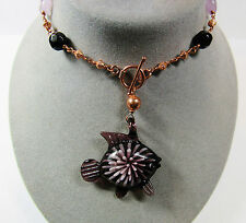 "Handmade COPPER Purple Glass Fish Pendant Jade Stone Toggle Clasp 18.5"" Necklace"