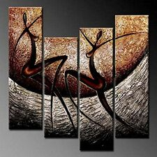 Wieco Art African Dancers Abstract Oil Paintings on Canvas Modern Canvas WallArt