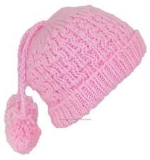 City Hunter Quality Hand Made Rib Knit Cuffed Winter Beanie W/Pom Pom #750 Pink