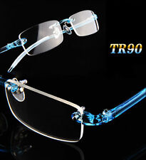 TR90 Flexible Rimless Eyeglass Frames Spectacles Glasses RX Blue Eyewear Optic