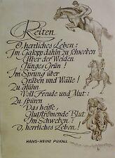 Klaus MEYER (20./21.) Radierung: -REITEN -  (Pferde /Reiter /Reittunier)