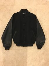 POLO RALPH LAUREN Black and Blue Wool And Leather Sleeve Men's Jacket