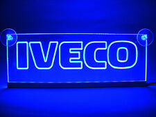 IVECO ENGRAVED ILLUMINATING PLATE LED BLUE NEON LIGHT 24 VOLTS