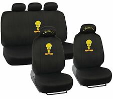 New 11pcs Set Looney Tunes Tweety Bird Logo Front Rear Back Car Full Seat Covers