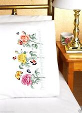 "Janlynn Stamped Embroidery kit 20""x 30"" Pillowcases ~ ROSE GARDEN #021-1101 Sale"