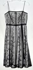 Papell Boutique Evening Sheer Black Flowered Net Over White Net Dress Size 8P