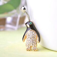 Navel Belly Bars Crystal Dangly Body Piercing Belly Button gold plated penguin