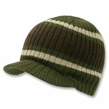 Olive Green Brown Striped Campus Visor Jeep Skull Knit Winter Beanie Cap Hat