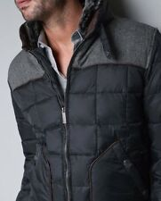 Zara Man Blue Puffer Down Vest Medium Quilted Sherpa Faux Leather M RRL Denim