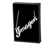 "Name Necklace ""IMOGEN"" - 18ct White Gold Plated - Swarovski Elements - Birthday"