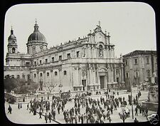 EARLY Glass Magic Lantern Slide CATANIA CATHEDRAL C1890  SICILY ITALY