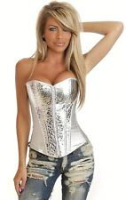 LINGERIE SEXY CORSET BUSTIER TOP GREY SILVER METALLIC PVC SYNTHETIC LEATHER 8288