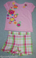PINK Orange Plaid SMILEY FACE Flowers Toddler GIRLS SHORTS & Shirt 24 mo