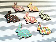 Bunny Cabochons Easter Bunny Assorted Easter Embellishments Rabbit Animal 7 pc