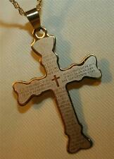 Handsome Club Armed Spanish Our Father Lord's Prayer Goldtone Cross Necklace
