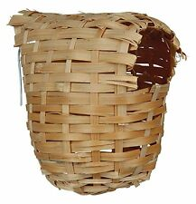 Exotic Bamboo Bird Nest with Metal Hanger for Bird Cage 12cm x 15cm
