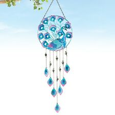 Blue Purple Peacock Bird Glass Hanging Wind Chime Outdoor Garden Yard Decor