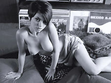 1960s Nude Pinup lying on Pillows with record albums 8 x 10 Photograph