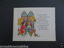 Vintage 1920's Unused Xmas Greeting Card Holiday Carolers Singing in Church