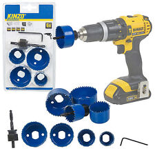 Kinzo 6pc Wood Hole Saw Drill Bit Set Boring Holesaw Wall Plaster Pilot Mandrel