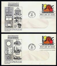 #U584 & U585 13c Energy Conserv/Develop, Aristocrat-Window FDC ANY 4=FREE SHIP