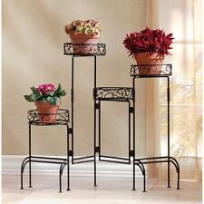 "FOUR TIER PLANT STAND SCREEN - 28 3/4"" HIGH - BLACK - METAL"