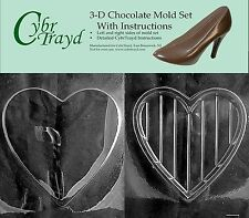 Heart Shaped Valentines 3D Mold for Chocolate,Soap, Plaster, Candy by Cybrtrayd