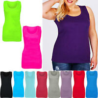 NewLadies Womens Summer Ribbed Vest Tops T-Shirts Cami Stretch Cotton Plus Size