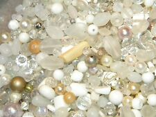 New 6/oz WHITE'S GLASS, Stone, Pearls 6-15mm  MIXED LOOSE BEADS LOT