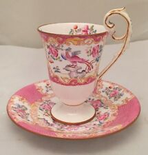 MINTON china COCKATRICE PINK wreath stamp Demitasse Cup Saucer Set EXCELLENT