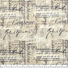 "Timeless Music Notes and Words Linen 100% cotton 43"" fabric by the yard 36"""