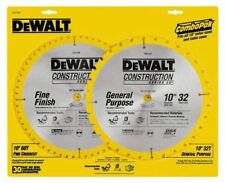 "NEW DEWALT DW3106P5 (2PK) 10"" CARBIDE CONSTRUCTION TABLE SAW BLADE SET 32T & 60T"