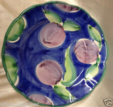 WILLIAMS SONOMA DESIGNER GUILD COUNTRY FAIR PLUMS SALAD PLATE BLUE BACKGROUND