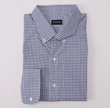 NWT $395 ERMENEGILDO ZEGNA Blue Check Button-Front Cotton Shirt XXL Classic-Fit