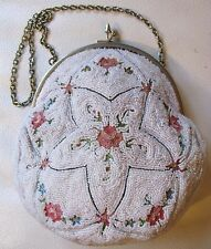 Antique French Micro Bead Tambour Forbidden Stitch Hand Embroidery Purse France