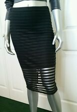 $80.00 100% AUTHENTIC NWT BEBE STRIPED MESH   MIDI SKIRT SIZE 4