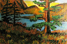 "ORIGINAL ACRYLIC ART ACEO PAINTING BY LJH A277 ""ELFIN COVE, BC"""