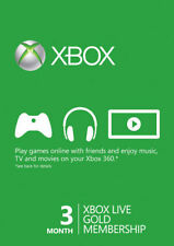 Microsoft Xbox Live Gold Membership 3 Month Subscription Redemption Code Card