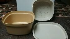 Vintage Tupperware Steamer Set 3 Piece Yellow Container #888-11 Harvest Gold