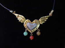 "JJ Jonette Jewelry Silver & Gold Pewter 'Winged HEART Multi-Stone' 16"" Necklace"