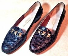 SALVATORE FERRAGAMO WOMEN'S Shoes Flats Brown Leather Faux Alligator Size 9B