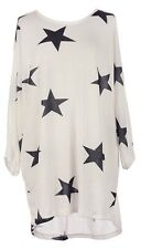 Ladies Lagenlook Fine Knitted OVERSIZED Curve STAR Print Batwing Tunic Top 14-22