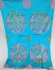 Vintage ASIAN Silk Embroidered Panel PYUNG WHA-Butterflies Florals On Turquoise