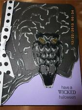 Handmade Halloween Card Sizzix Bats & Owl Set  656776 Embossed Ribbon Painted
