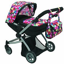 Babyboo Deluxe Twin Doll Pram/Stroller Gumball & Black with Free Carriage Bag M