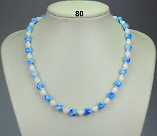 Blue glass drawbench bead & white jade necklace, silver-plated daisy spacers 18""